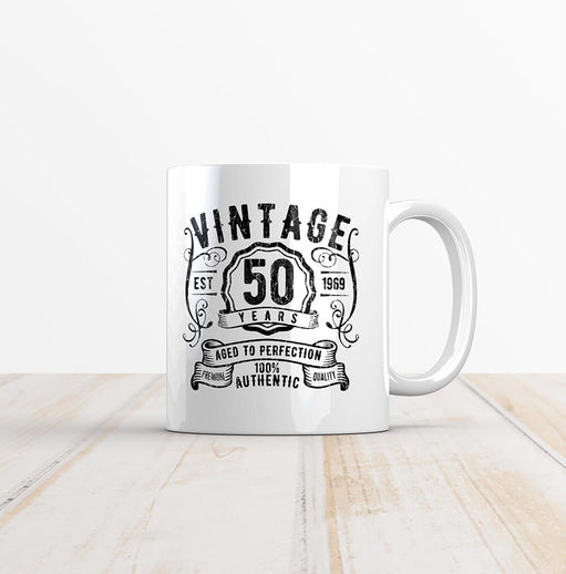 Vintage 50 Whiskey Label Birthday Mug