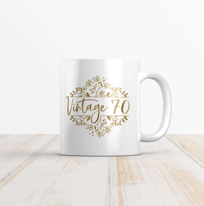 Vintage 70 Gold Wreath Birthday Mug