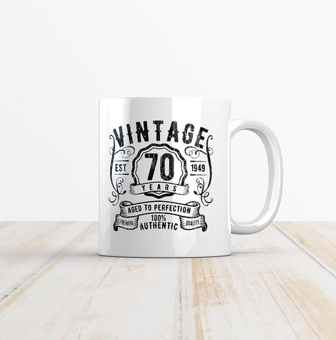 Vintage 70 Whiskey Label 70th Birthday Mug