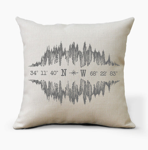 Custom Coordinates Vintage Mountains Pillow