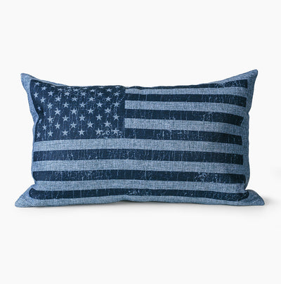 Vintage Navy American Flag Lumbar Pillow