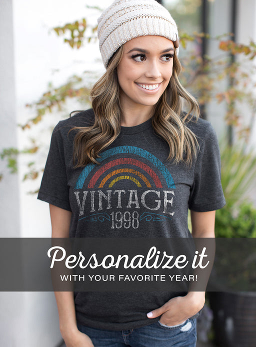 Birthday Shirts-Personalized Vintage Year Rainbow Birthday T-Shirt
