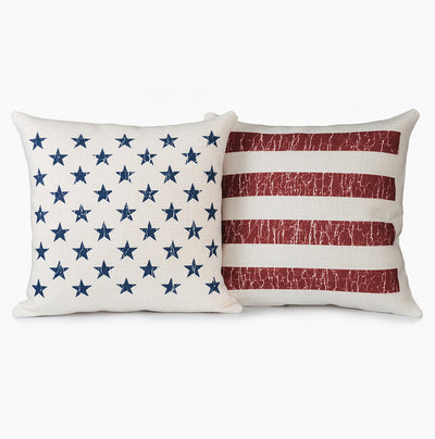 Vintage Stars & Stripes American Flag Pillow Set