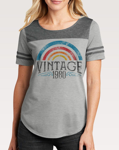 40th Birthday Shirt | Women's Vintage Rainbow Tee