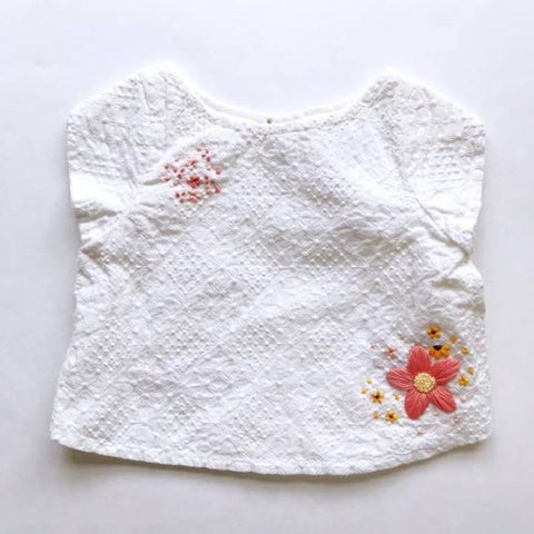 Coral Floral Embroidered Top - 12mo