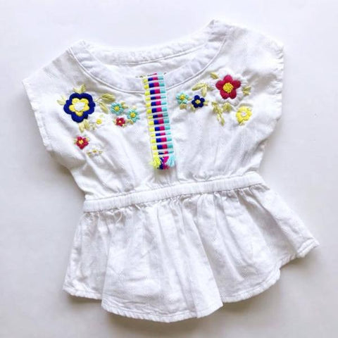 Folk Floral Embroidered Top - 12 mo