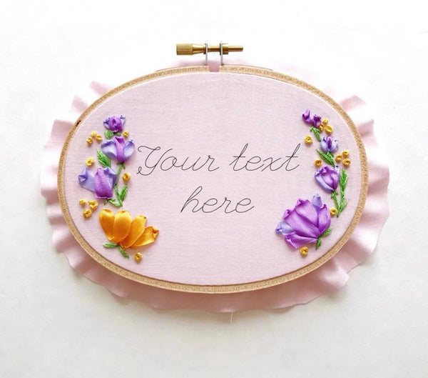 Mini Oval Floral Hoop in Pink (Personalize Me!)