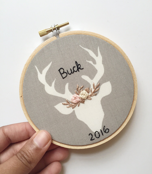 Taupe & Pink Personalized Deer Ornament