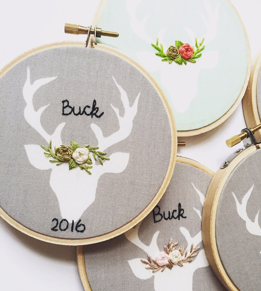 Gold, Sage, and Grey Personalized Deer Ornament