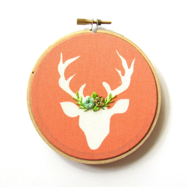 Coral and Mint Personalized Deer Ornament