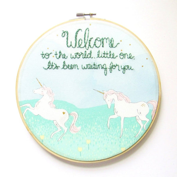Welcome Little One - Unicorn Nursery Embroidery Hoop