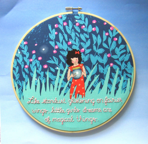 Little Girls Stardust Dreams - 9 Inch Blue Girl with Fireflies - Embroidery Hoop by KimArt Designs