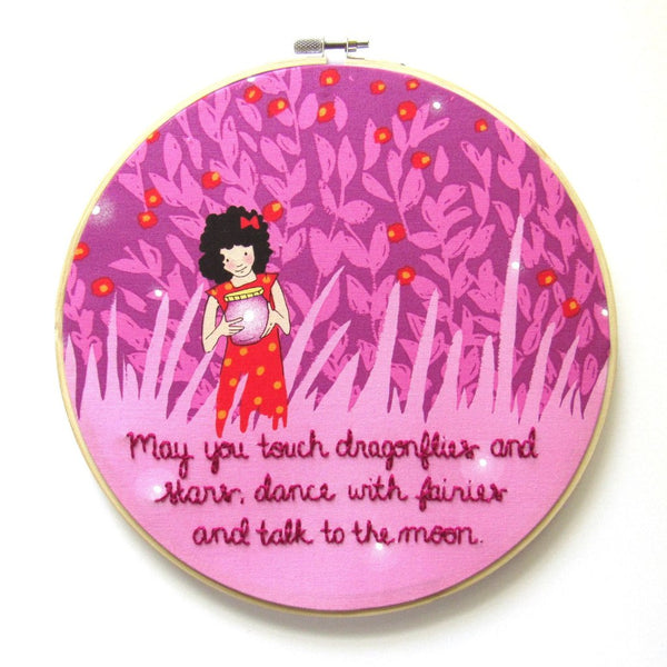 Dragonflies & Fairies - 9 Inch Pink Girl with Fireflies - Embroidery Hoop by KimArt Designs