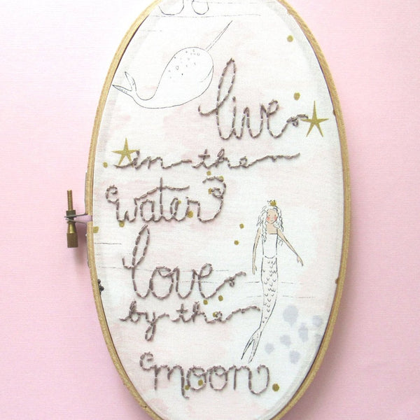 Live in the Water - 9x5 Inch Oval Pink Mermaid Embroidery Hoop by KimArt Designs