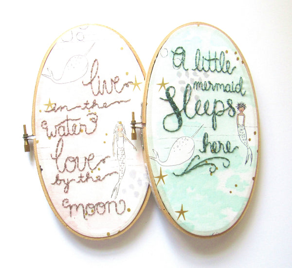 A Little Mermaid Sleeps Here - 9x5 Inch Oval Blue Minty Green Mermaid Embroidery Hoop by KimArt Designs