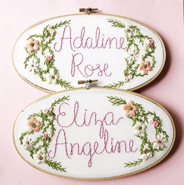 Personalized Baby Name with Flowers & Vines - Pick Your Colors
