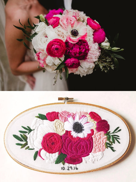 Personalized Oval Embroidered Bridal Bouquet Replica