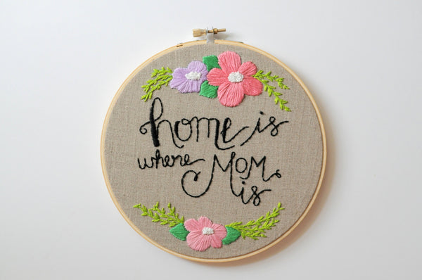Home Is Where Mom Is Embroidery Hoop