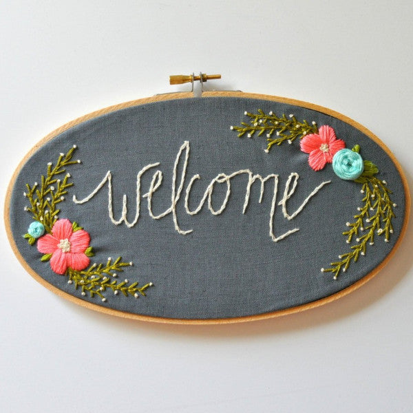 Floral Welcome Embroidery Hoop