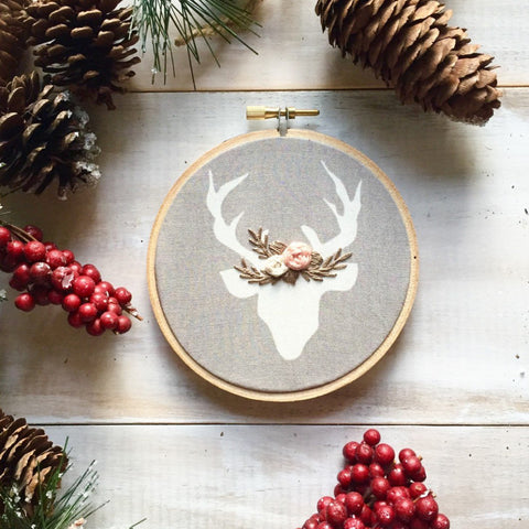 Taupe & Pink Deer Ornament