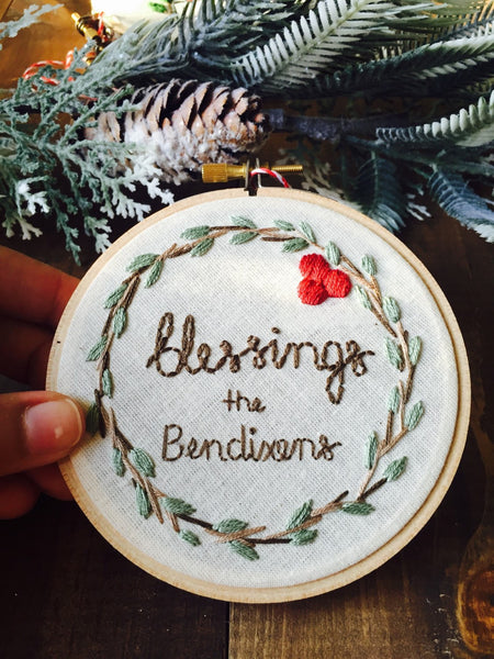 Family Blessings Wreath Christmas Ornament