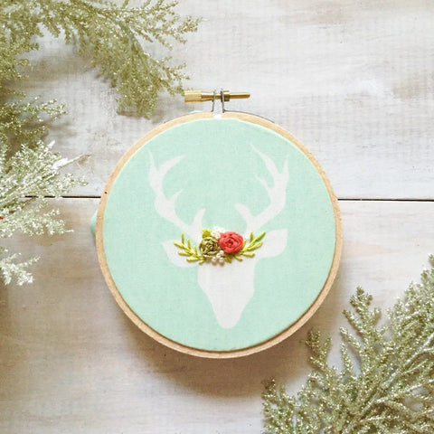Mint and Gold Deer Ornament