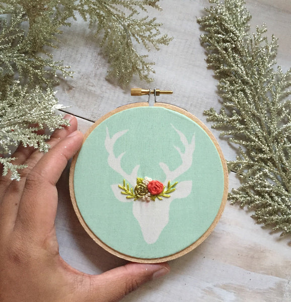 Mint and Coral Personalized Deer Ornament