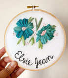 Floral Ribbon Name Hoop