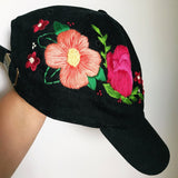 Floral Embroidered Black Cap