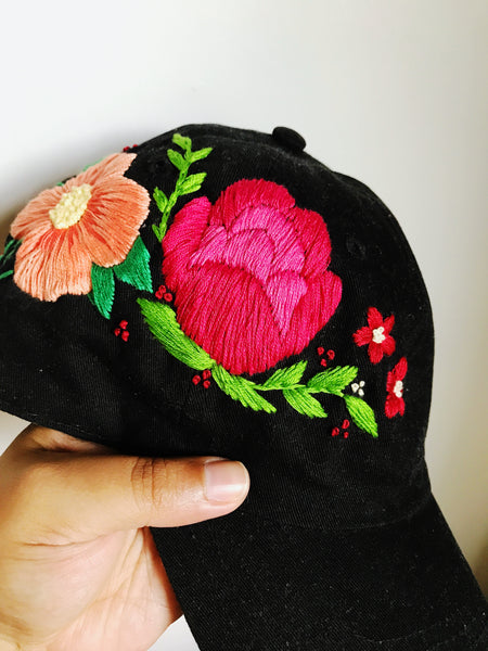 Summer Floral Embroidered Black Cap for Women