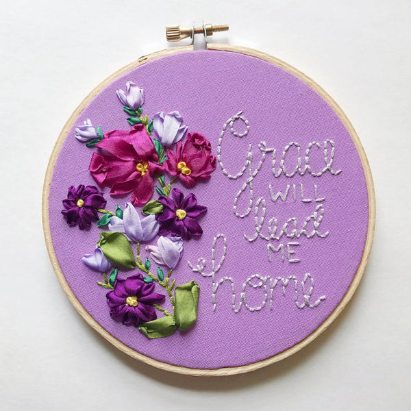 """Grace"" Ribbon Embroidery Hoop"