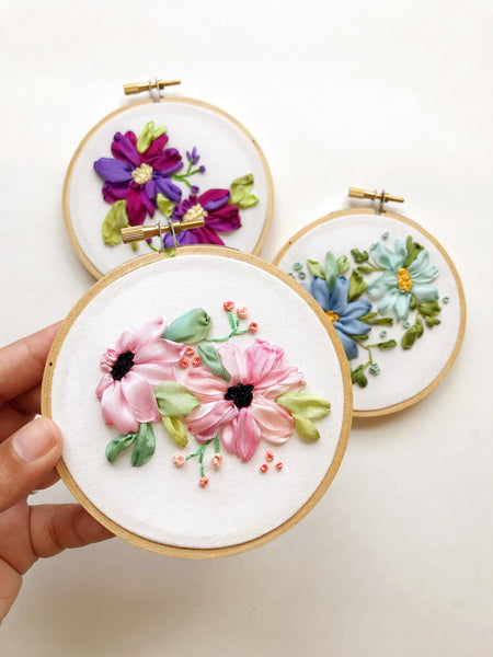Pink Watercolor Floral Hoop