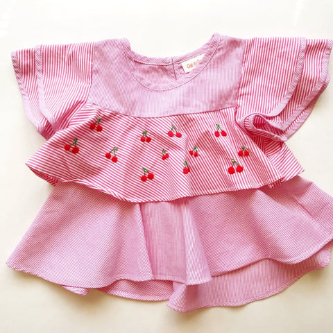 Cherry Cherry Pin Stripe Top - 2T