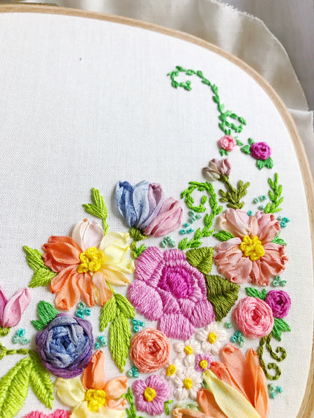 Whimsical Wildflower Square Embroidery Hoop