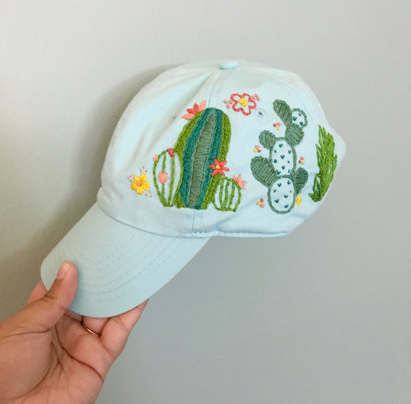 Floral Cacti Embroidered Light Blue Hat