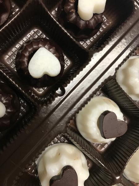 Valentine in Black and White: Boldly in Love - Chocolate Hearts in a Box