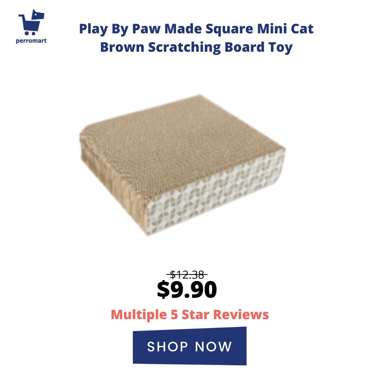 Play By Paw Made Square Mini Cat Brown Scratching Board Toy