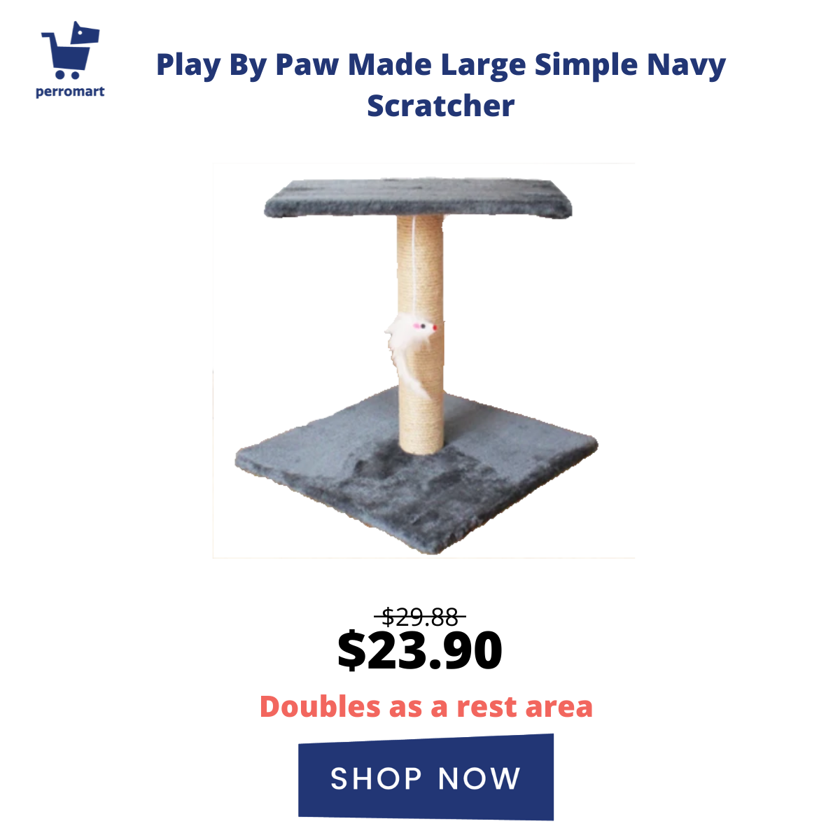 Play By Paw Made Large Simple Navy Scratcher