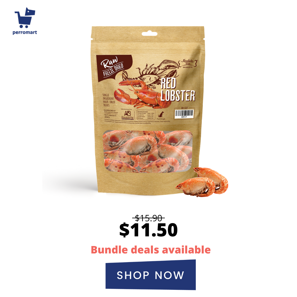 absolute bites freeze dried lobster dog and cat treats
