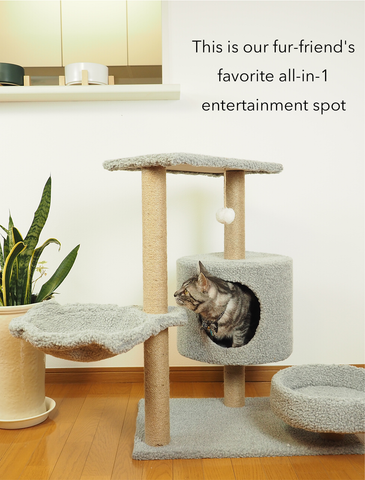 Paw Made Up & Down 75cm Height Cat Condo Grey
