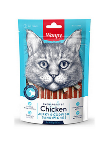 Wanpy Oven Roasted Chicken & Cod Fish Sandwiches Cat Treats 80g | Perromart Online Pet Store Singapore