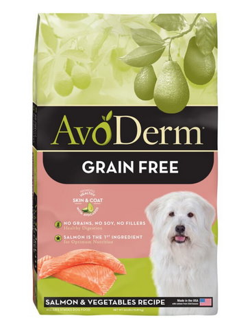 AvoDerm Natural Grain Free Salmon & Vegetable Formula All Life Stages Dry Dog Food 2 Sizes | Perromart Online Pet Store Singapore