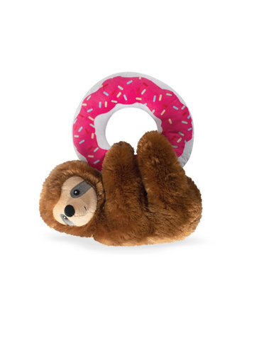 Fringe Studio Donut Leave Me Hangin' Sloth, Dog Squeaky Plush Toy | Perromart Online Pet Store Singapore
