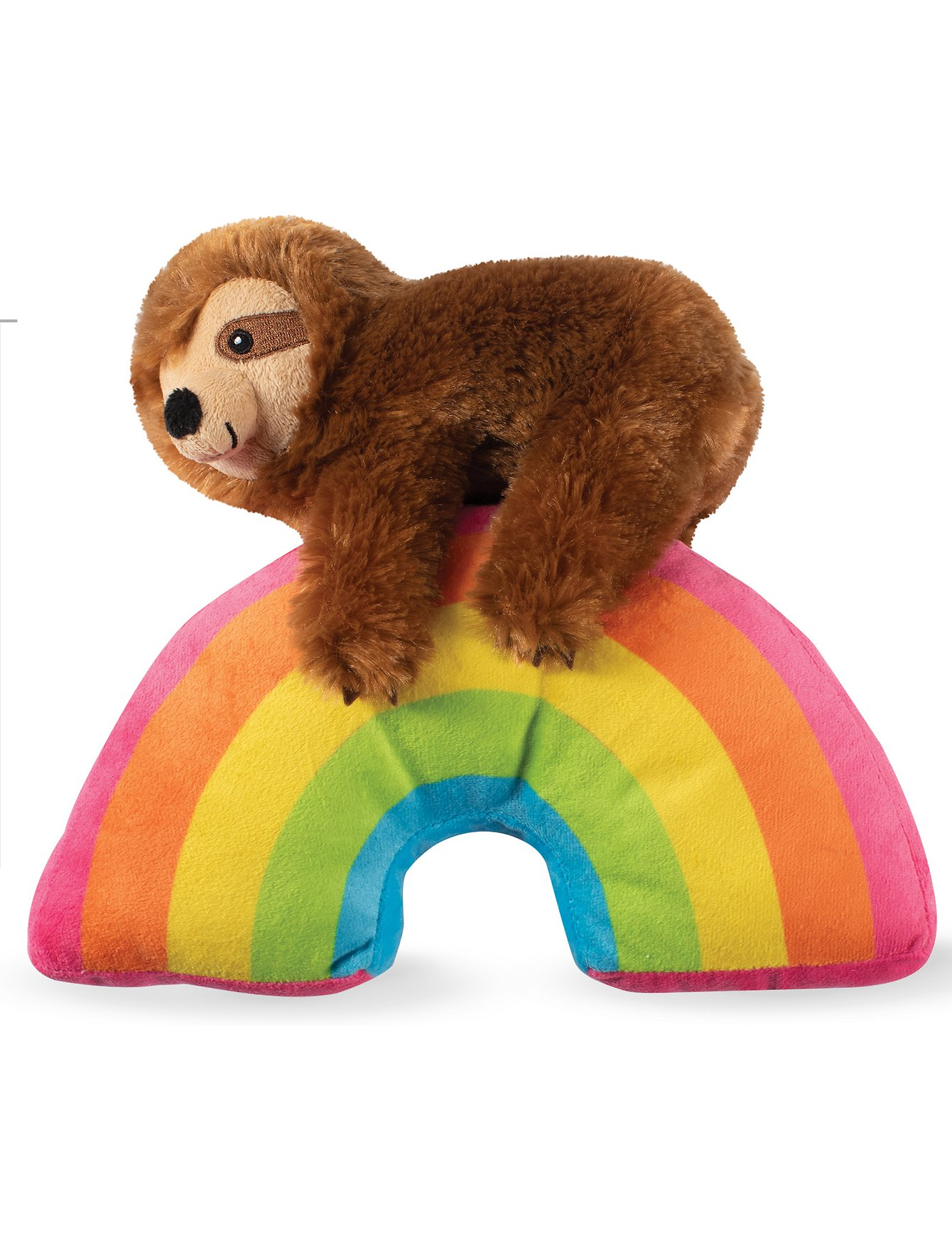 Fringe Studio Ziggy Sloth On A Rainbow Dog Squeaky Plush Toy | Perromart Online Pet Store Singapore