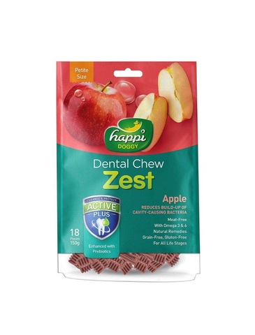 Happi Doggy Dental Chew Zest Petite Apple 150g | Perromart Online Pet Store Singapore