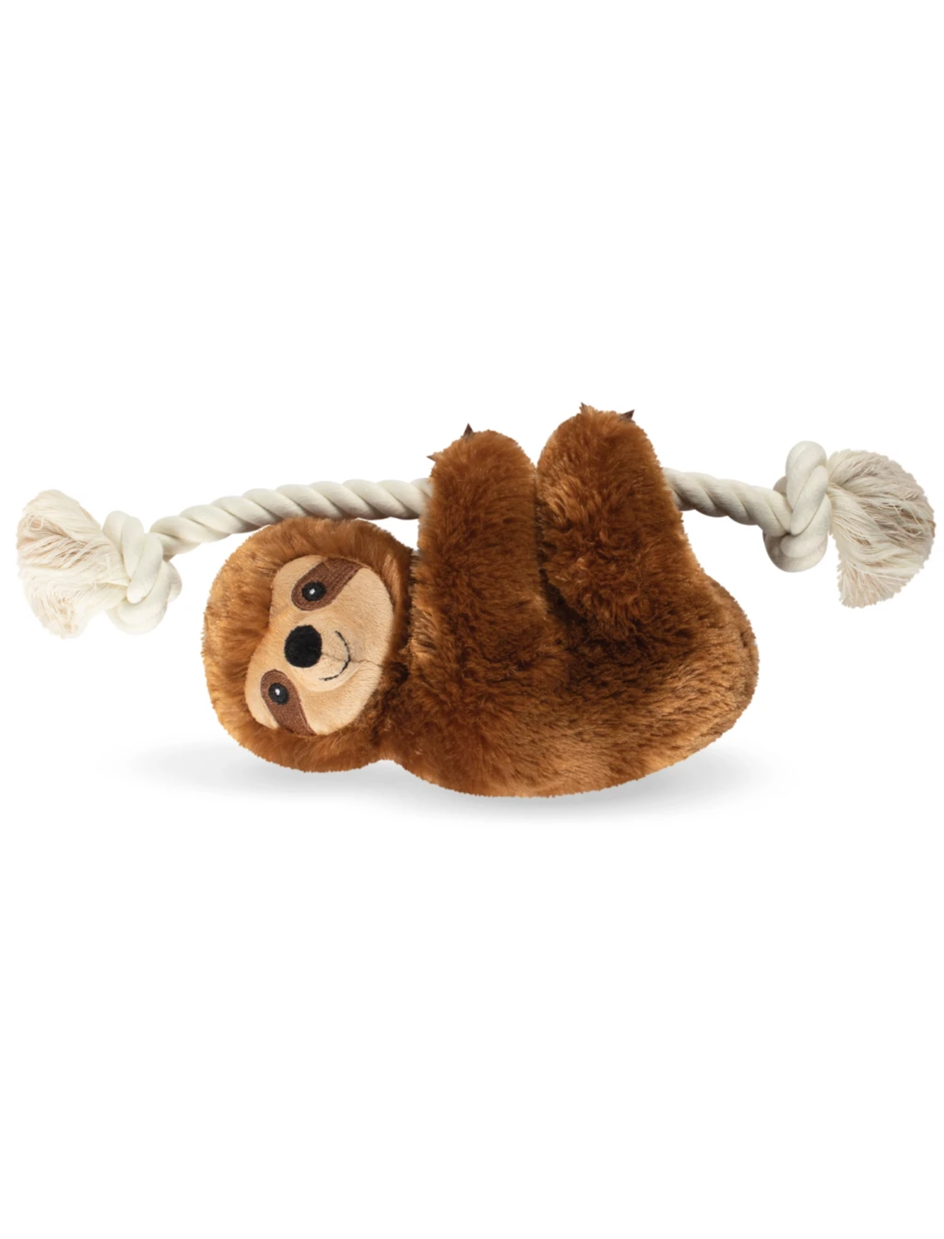 Fringe Studio Stanley Brown Sloth On A Rope Dog Squeaky Plush Toy | Perromart Online Pet Store Singapore