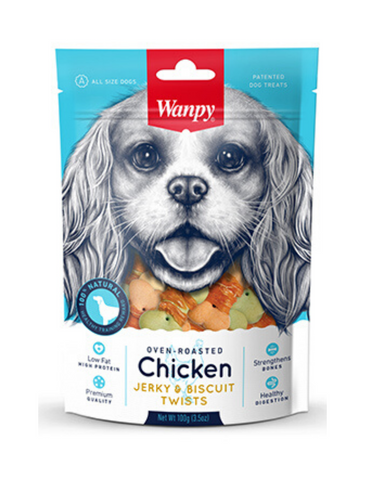 Wanpy Oven-Roasted Chicken & Biscuit Twists Dog Treats 100g | Perromart Online Pet Store Singapore