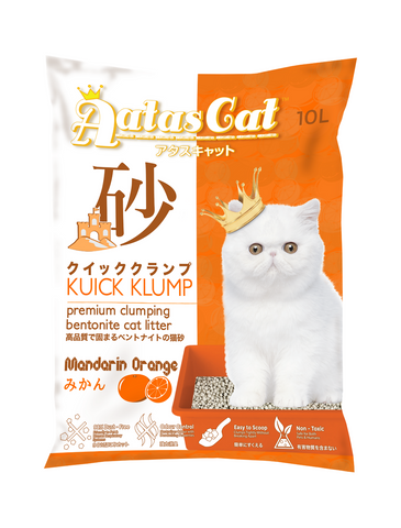 Aatas Cat Kuick Klump Bentonite Cat Litter Mandarin Orange 10L