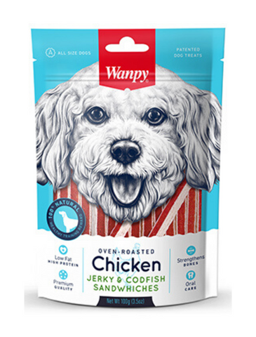 Wanpy Oven-Roasted Chicken & CodFish Sandwiches Dog Treats 100g | Perromart Online Pet Store Singapore