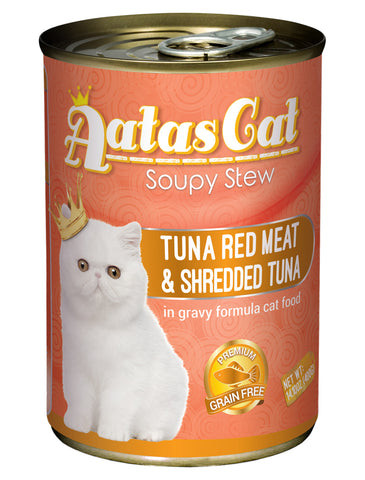 Aatas Cat Soupy Stew Tuna Red Meat with Shredded Tuna in Gravy 400g | Perromart Online Pet Store Singapore